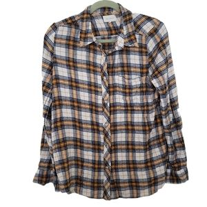 Mello Day Plaid Yellow and White Flannel Shirt L